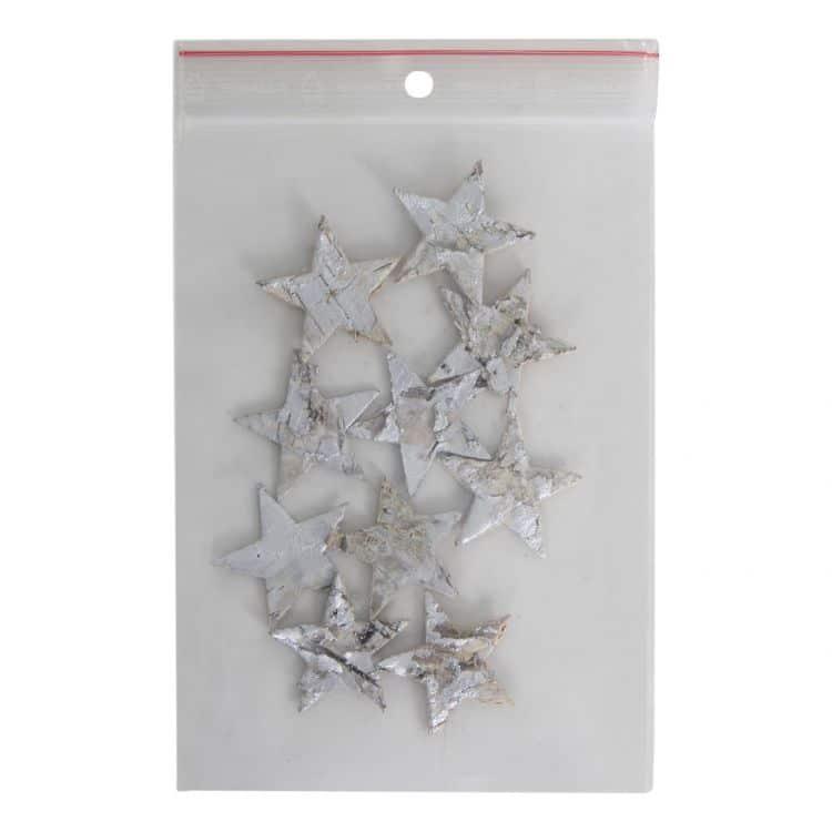 10 Houten Zilver    Sterretjes 4 cm