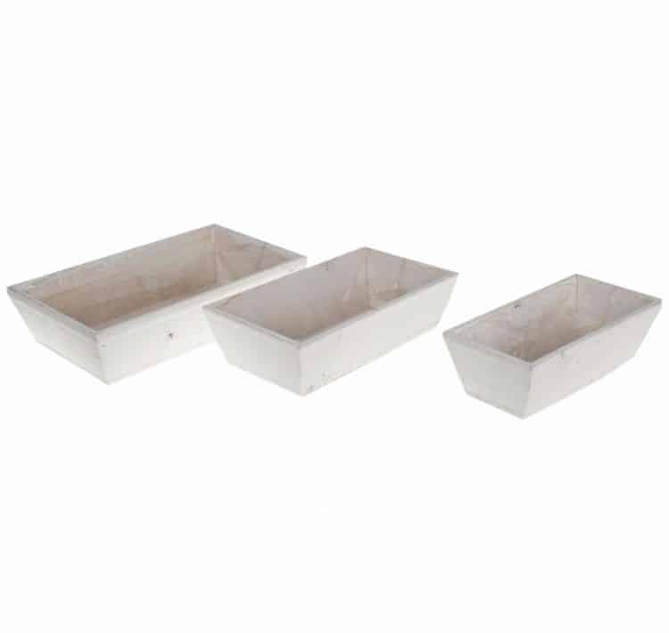 3  Witte houten schalen 35/30/25 cm