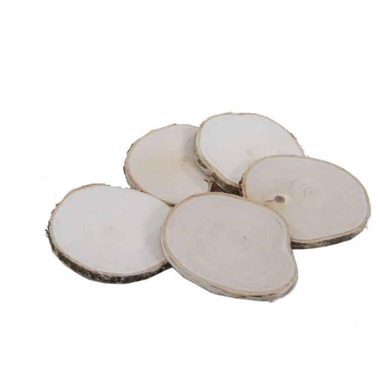 5 Houtschijven 10-12 cm (gladde afwerking)