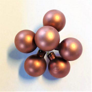 5 Kerstballetjes Koper 3 cm