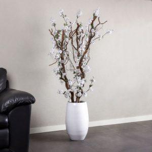 Bloesem kronkel boom wit ± 140 cm (Incl. witte pot)