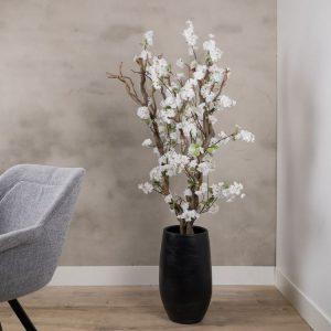 Bloesem kronkel boom wit ± 140 cm (Incl. zwarte pot)