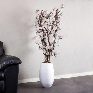 Bloesem kronkel boom zacht Roze ± 140 cm (Incl. witte pot)