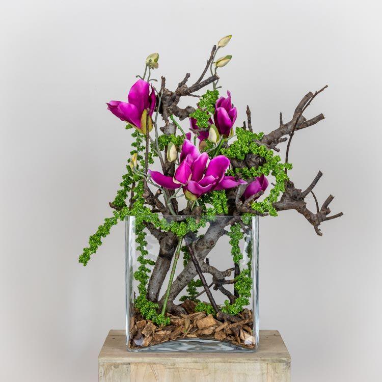 DIY-Pakket Decoratie Magnolia  Fuchsia H 50 cm
