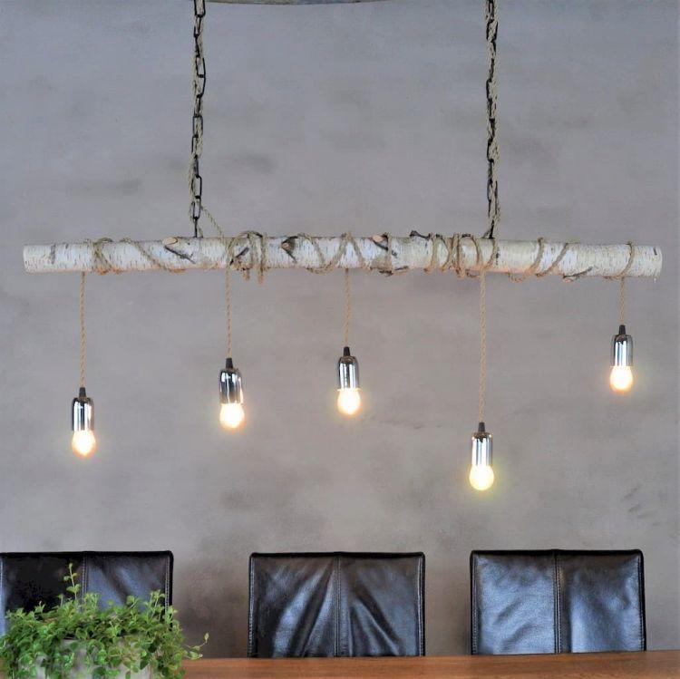 Hanglamp Berkenstam met Stofkabel Beige