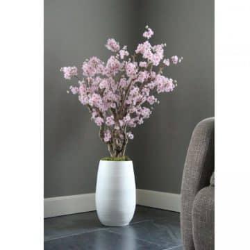 Fruit bloesemboom Roze ± 140 cm (incl.witte  pot)