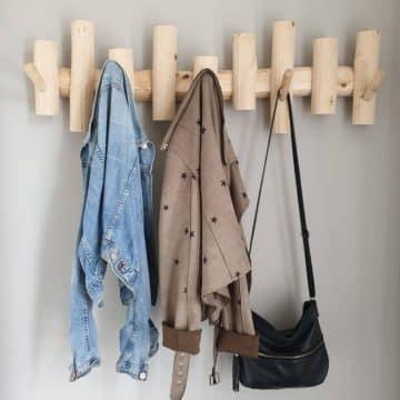 Houten wandkapstok  5 houten haken 95 cm