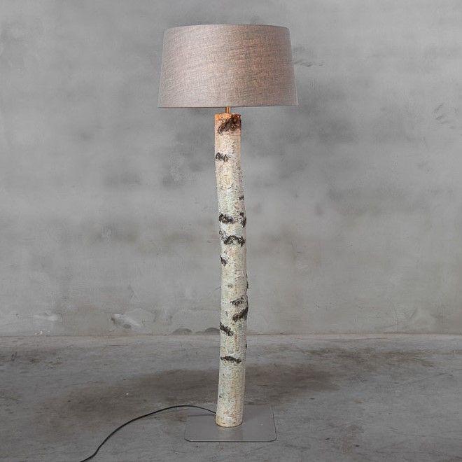Staande Lamp Berkenstam met kleur keuze Lampen Kap
