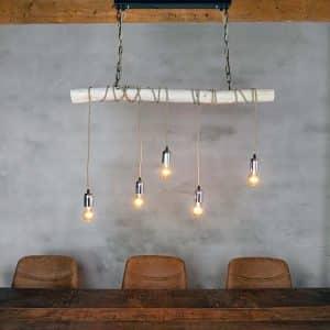 Hanglamp Brocante Stam met Stofkabel Beige