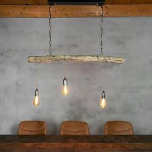 Hanglamp Oud Eikenstam met Stofkabel Beige