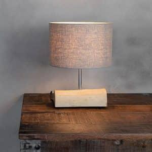 Tafellamp Halve Brocante Stam met Cilinder Kap