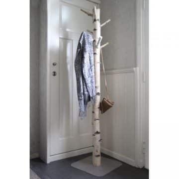 Staande Boomstam Kapstok Berk  op RVS voet 170 cm