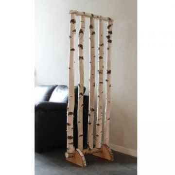 Roomdivider Berk met houten voetsteunen H 180 x B 60 cm