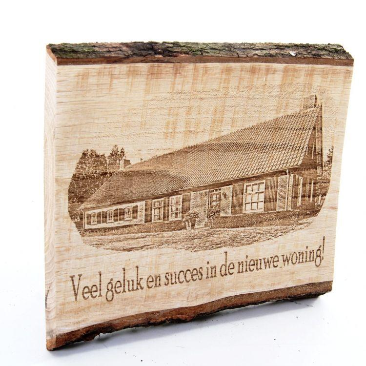 Eiken plank met Eigen Foto en Tekst ± 25 cm