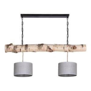 Hanglamp Berkenstam met Jute Zilveren Lampenkapjes
