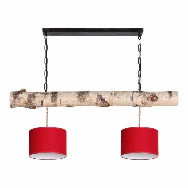 Hanglamp Berkenstam met Rode Lampenkapjes