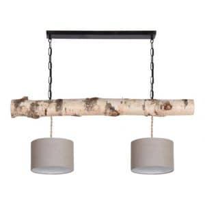 Hanglamp Berkenstam met Vlas Linnen Lampenkapjes