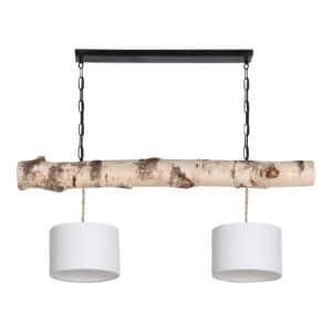Hanglamp Berkenstam met Witte Lampenkapjes