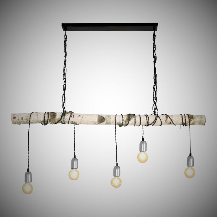 Hanglamp Berkenstam met Stofkabel Zwart