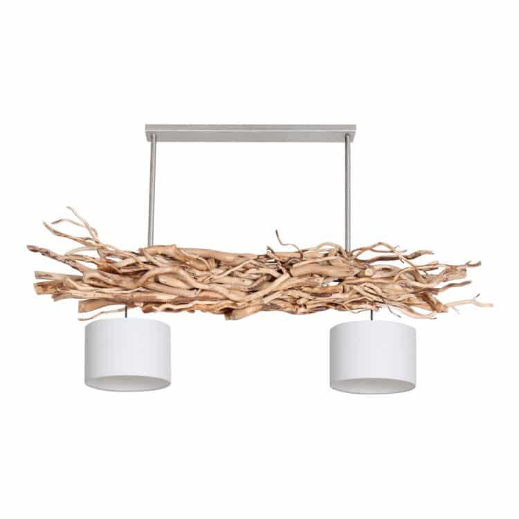 Hanglamp Brocante Kronkeltakken met Witte Lampenkapjes (135 cm)
