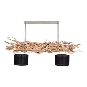 Hanglamp Brocante Kronkeltakken met Zwarte Lampenkapjes (135 cm)