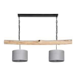 Hanglamp Brocante Stam met Jute Zilveren Lampenkapjes
