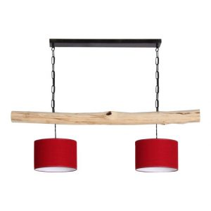 Hanglamp Brocante Stam met Rode Lampenkapjes