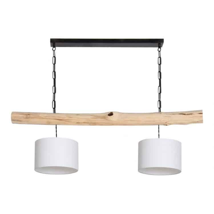 Hanglamp Brocante Stam met Witte Lampenkapjes