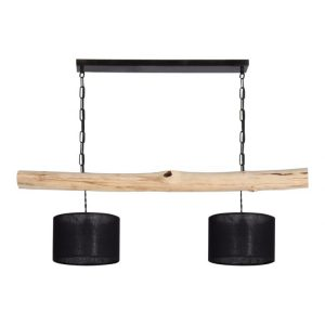 Hanglamp Brocante Stam met Zwarte Lampenkapjes