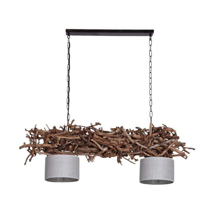 Hanglamp Brocante Perentakken met Jute Zilveren Lampenkapjes