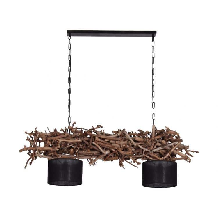 Hanglamp Brocante Perentakken met Zwarte Lampenkapjes