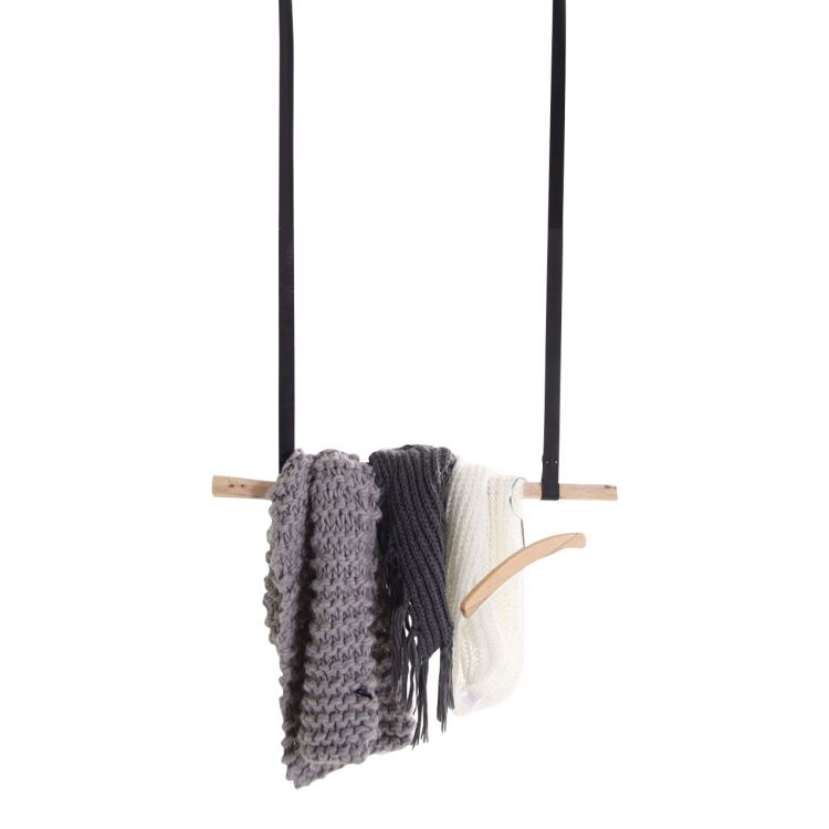 Hanger met Leder bandjes Zwart 1 m