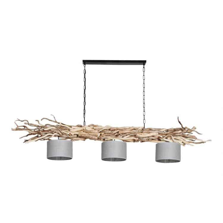 Hanglamp Ketting Brocante Kronkeltakken 3 Jute Zilveren Lampenkapjes (165 cm)
