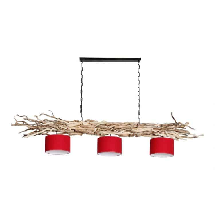 Hanglamp Ketting Brocante Kronkeltakken 3 Rode Lampenkapjes (165 cm)