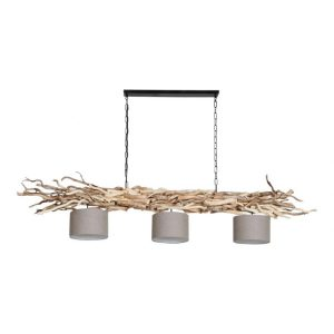 Hanglamp Ketting Brocante Kronkeltakken 3 Vlas Linnen Lampenkapjes (165 cm)