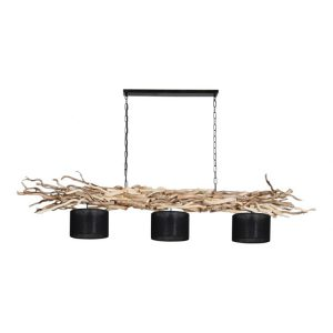 Hanglamp Ketting Brocante Kronkeltakken 3 Zwarte Lampenkapjes (165 cm)
