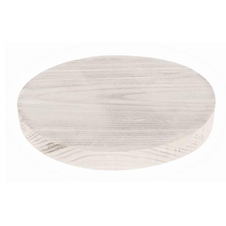 Hout Schijf Rond White-wash 25 cm