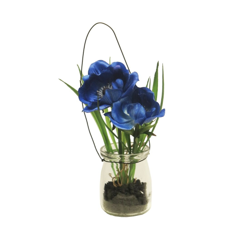 Anemoon Blauw in glas 16 cm