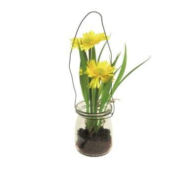 Gerbera Geel in glas 16 cm