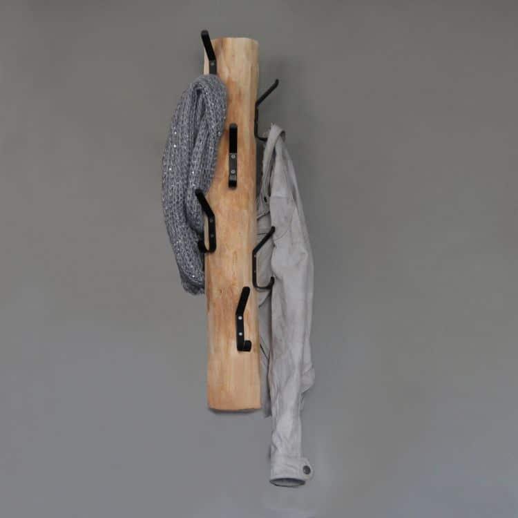 Wandgarderobe 6 zwarte dubbele haken 70 cm