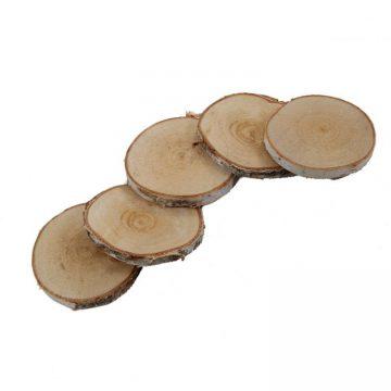 5 Houtschijfjes 8-10 cm