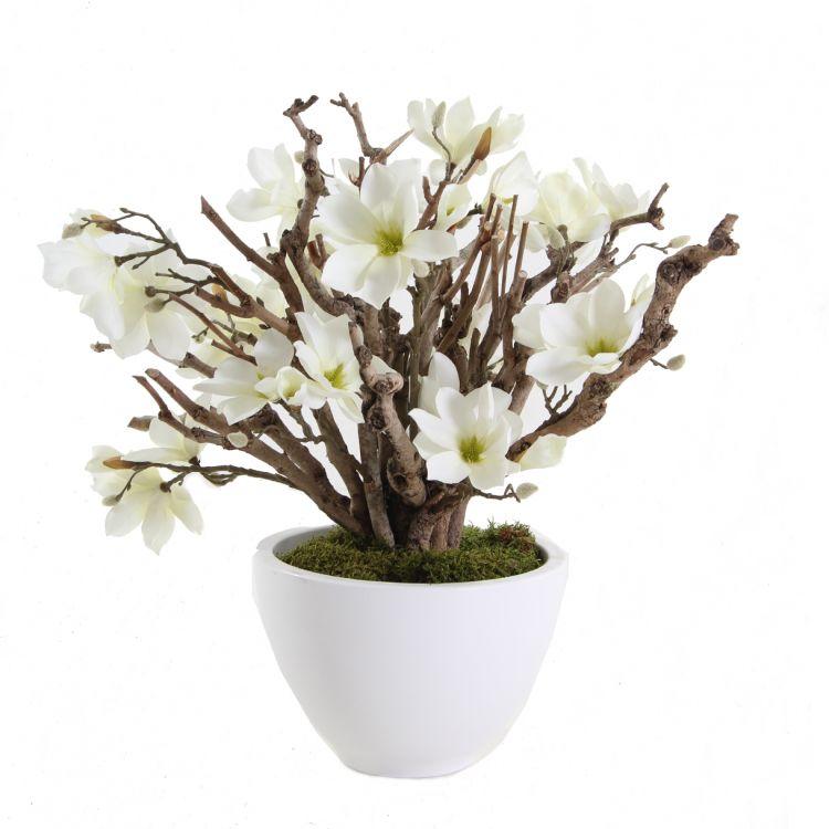 Bloemen Decoratie Magnolia Wit 60cm