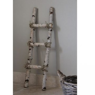 Decoratie Ladder Berk met touw 100 cm