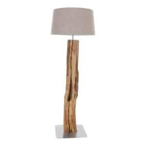 Staande Lamp Oud Eikenstam met kleur keuze Lampen Kap
