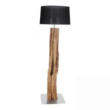Staande Lamp Oud Eikenstam met Zwarte Kap