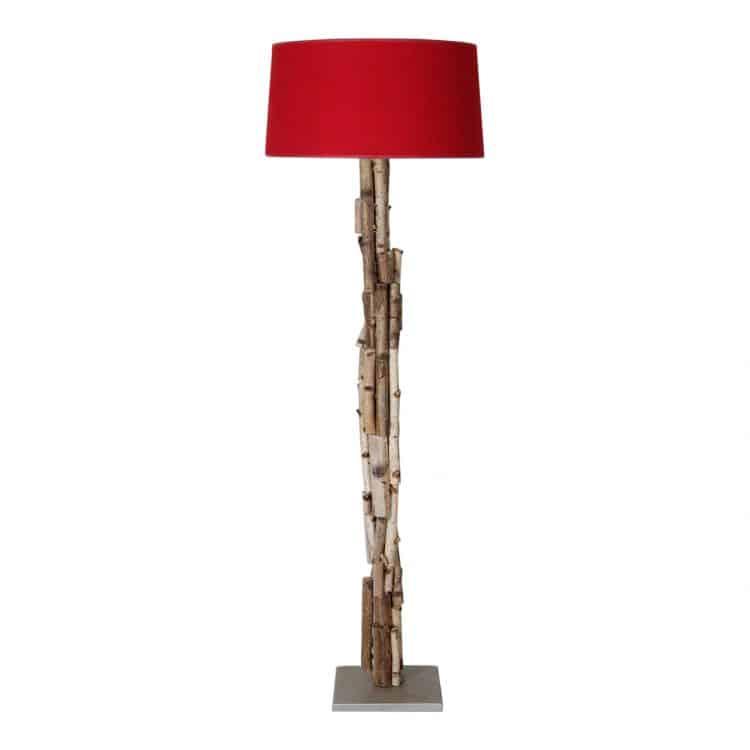Staande Lamp Berkentakken met Rode Kap