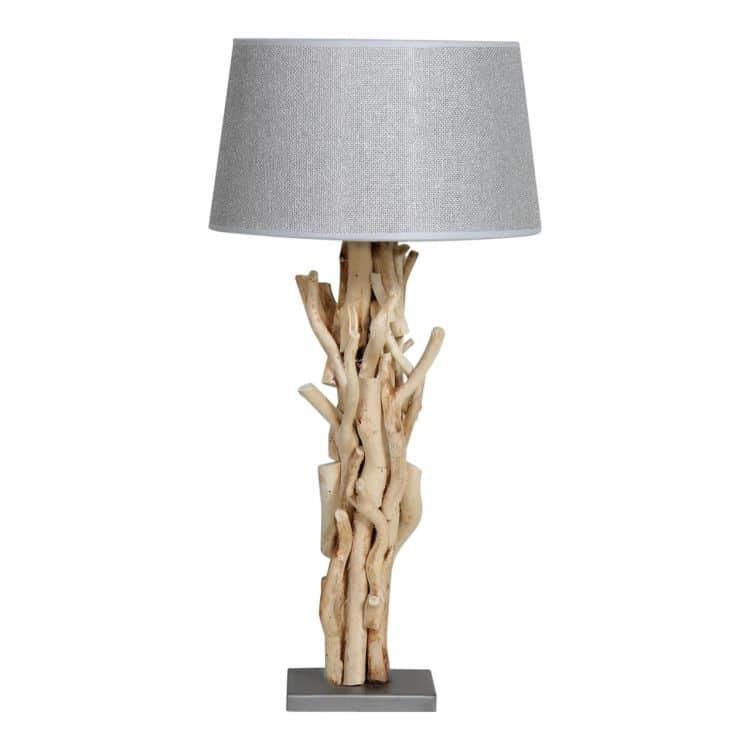 Tafellamp Brocante Takken met Jute Zilveren Kap