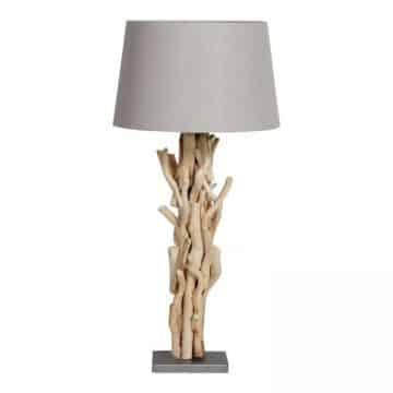 Tafellamp Brocante Takken met Vlas Linnen Kap