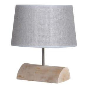 Tafellamp Halve Brocante Stam met Jute Zilveren Kap