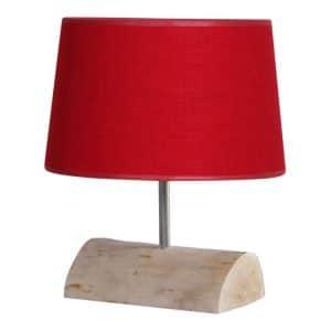 Tafellamp Halve Brocante Stam met Rode Kap